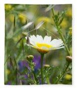 Single Daisy In A Field Fleece Blanket