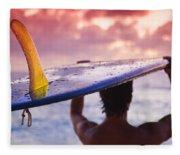 Single Fin Surfer Fleece Blanket