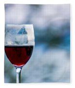 Single Glass Of Red Wine On Blue And White Background Fleece Blanket
