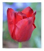 Single Red Tulip Fleece Blanket