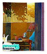 Sipping A Seven Up At Dagwoods Window Seat At The Sandwich Shop Montreal Summer Scene Carole Spandau Fleece Blanket