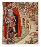 Sir Galahad Is Brought To The Court Of King Arthur Fleece Blanket