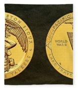 Sisseton Wahpeton Oyate Sioux Tribe Code Talkers Bronze Medal Art Fleece Blanket