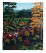 Sister's Autumn Stroll Fleece Blanket
