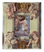 Sistine Chapel Ceiling 1508-12 The Creation Of Eve, 1510 Fresco Post Restoration Fleece Blanket