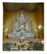 sitting Buddha made from one single marble block in KYAUKTAWGYI PAGODA Fleece Blanket