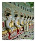 sitting Buddhas in Umin Thonze Pagoda Fleece Blanket