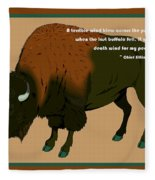 Sitting Bull Buffalo Fleece Blanket