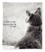 Sitting Cat Fleece Blanket
