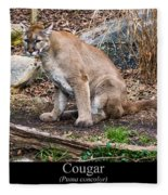 sitting Cougar Fleece Blanket
