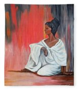 Sitting Lady In White Next To A Red Wall Fleece Blanket