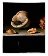 Six Shells On A Stone Shelf Fleece Blanket