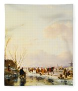 Skaters By A Booth On A Frozen River Fleece Blanket