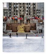 Skating At Rockefeller Plaza Fleece Blanket