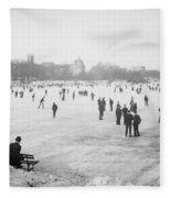 Skating In Central Park Fleece Blanket