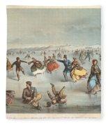 Skating In Central Park. New York Fleece Blanket