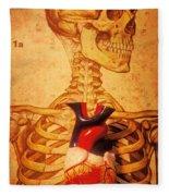 Skeleton And Heart Model Fleece Blanket