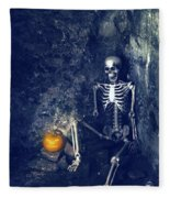 Skeleton With Jack O Lantern Fleece Blanket