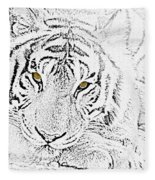Sketch With Golden Eyes Fleece Blanket