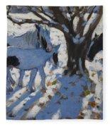 Skewbald Ponies In Winter Fleece Blanket