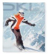 Ski 2 Fleece Blanket