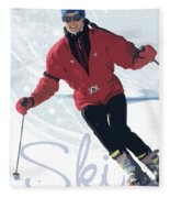Ski 3 Fleece Blanket