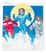 Ski Fun Art Fleece Blanket
