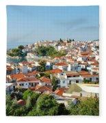 Skiathos Harbour In Greece Fleece Blanket
