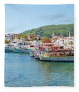 Skiathos Town Harbour Fleece Blanket