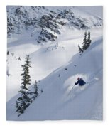 Skier Hitting Powder Below Nak Peak Fleece Blanket