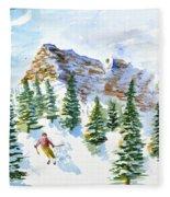 Skier In The Trees Fleece Blanket