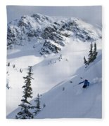 Skier Shredding Powder Below Nak Peak Fleece Blanket