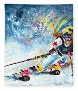 Skiing 03 Fleece Blanket