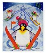 Skiing Holiday Fleece Blanket