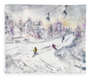 Skiing In The Dolomites In Italy 01 Fleece Blanket