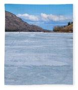 Skiing On Frozen Lake Laberge Yukon Canada Fleece Blanket