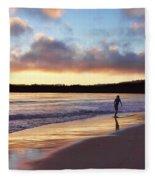 Skimboarder Sunset #2 Fleece Blanket
