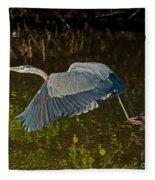 Skimming Great Heron Fleece Blanket