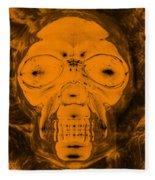 Skull In Negative Orange Fleece Blanket