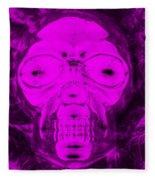 Skull In Negative Purple Fleece Blanket