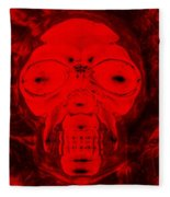 Skull In Negative Red Fleece Blanket