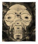 Skull In Negative Sepia Fleece Blanket