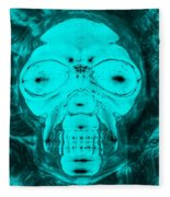 Skull In Negative Turquois Fleece Blanket