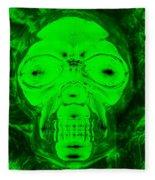 Skull In Radioactive Negative Green Fleece Blanket