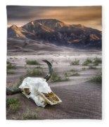 Skull In The Desert Fleece Blanket