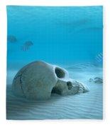 Skull On Sandy Ocean Bottom Fleece Blanket
