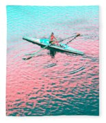 Skulling Boat At Sunset Fleece Blanket