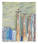 Sky Stations Pylon Caps - Downtown Kansas City Missouri Fleece Blanket