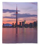 Skyline At Dusk From Centre Island Fleece Blanket