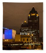 Skyline At The Milwaukee River Fleece Blanket